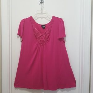 Simply Emma Top Short Sleeve Embellished V Neck